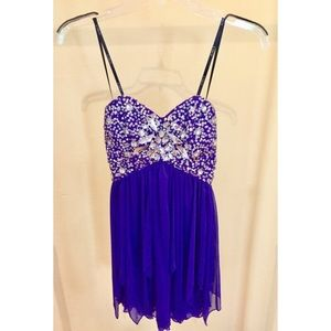 B.Darlin Purple Beaded Cocktail Dress - Size 1/2
